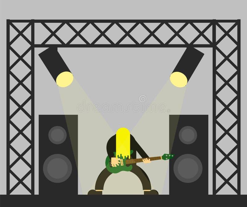 Guitariste aux cheveux longs de roche sur le style plat d'étape illustration stock