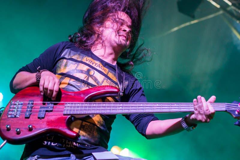 Guitariste, concert de rock vivant images stock