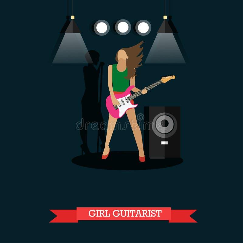 Guitariste de fille jouant la guitare électrique sur l'étape, illustration de vecteur illustration de vecteur