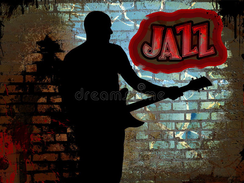 Guitariste de jazz illustration stock