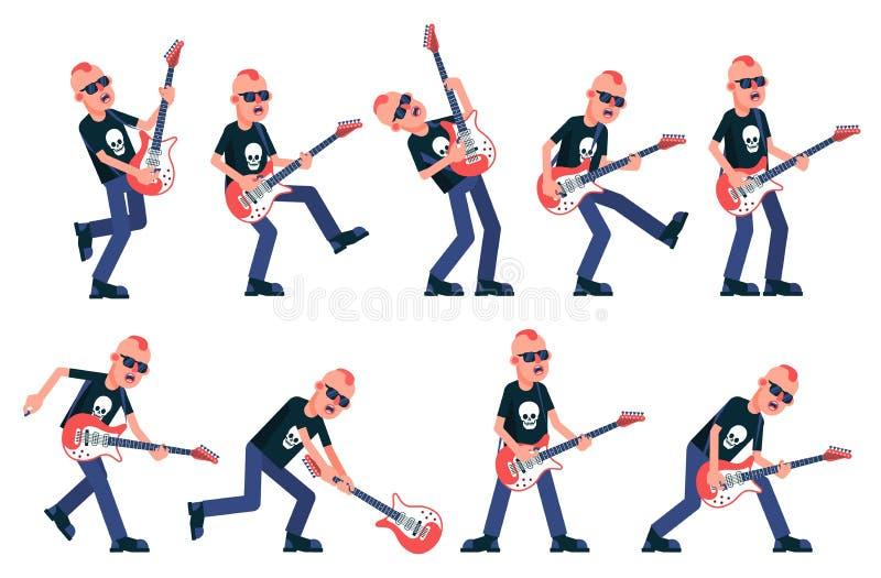 Guitariste de roche d'une bande punk illustration de vecteur