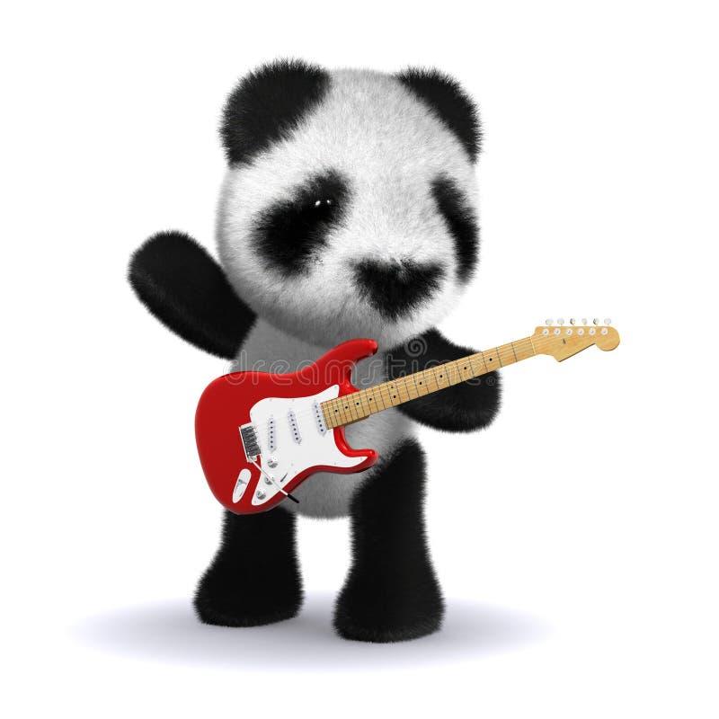 guitariste du panda 3d illustration libre de droits
