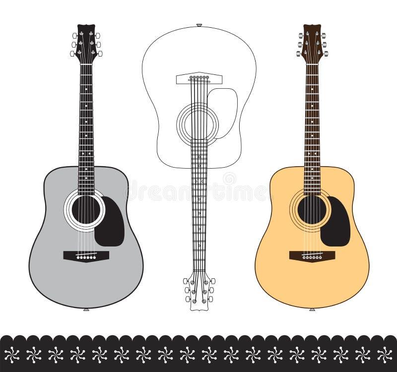 Guitarra acústica ilustração do vetor