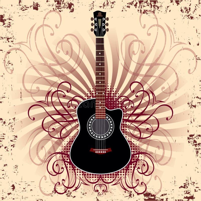 Guitarra acústica stock de ilustración