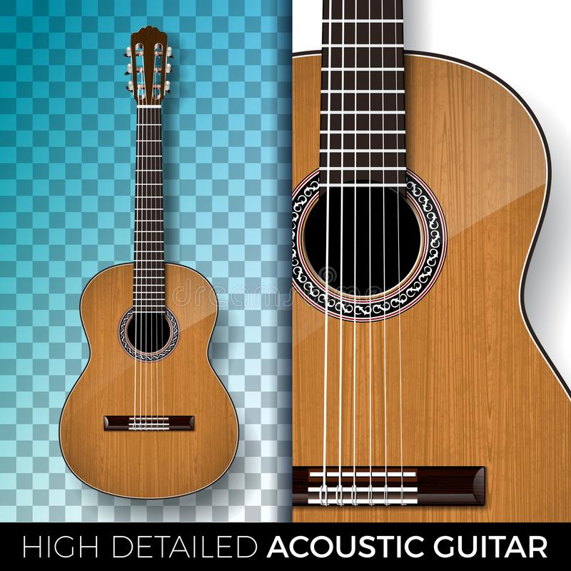 Guitarra acústica aislada en fondo transparente Alto ejemplo detallado del vector para la invitación, cartel del partido libre illustration