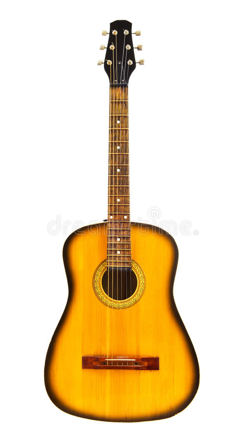 Guitarra acústica amarela foto de stock royalty free
