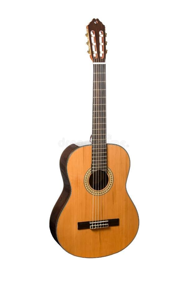 Guitarra acústica clássica de madeira natural isolada em um fundo branco foto de stock royalty free