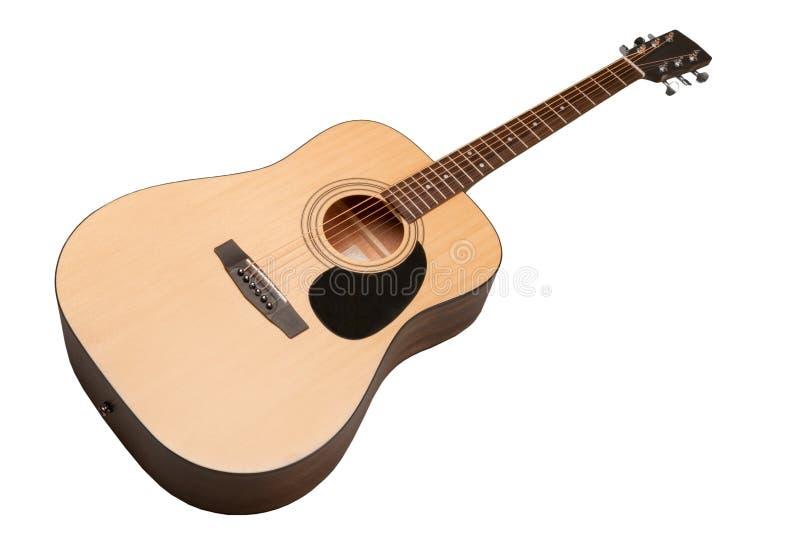 Guitarra acústica clássica isolada em um branco fotografia de stock royalty free