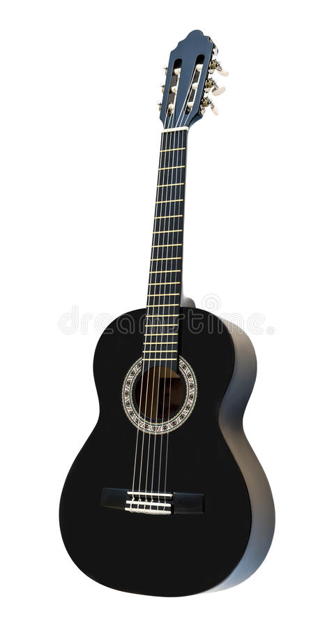 Guitarra acústica clássica isolada em um fundo branco fotos de stock