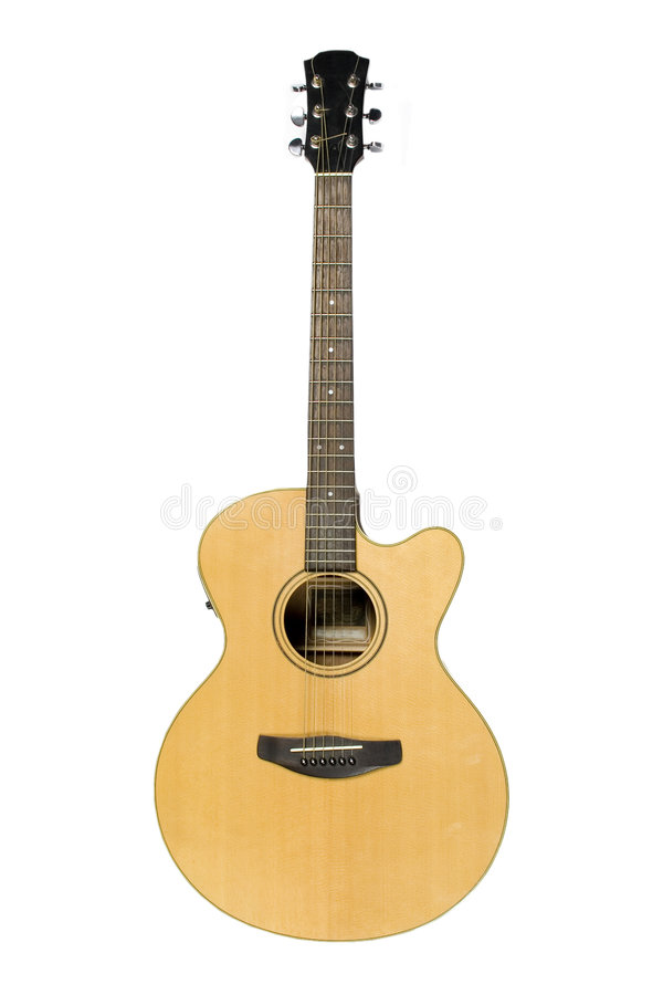 Guitarra acústica clássica isolada no branco imagens de stock royalty free