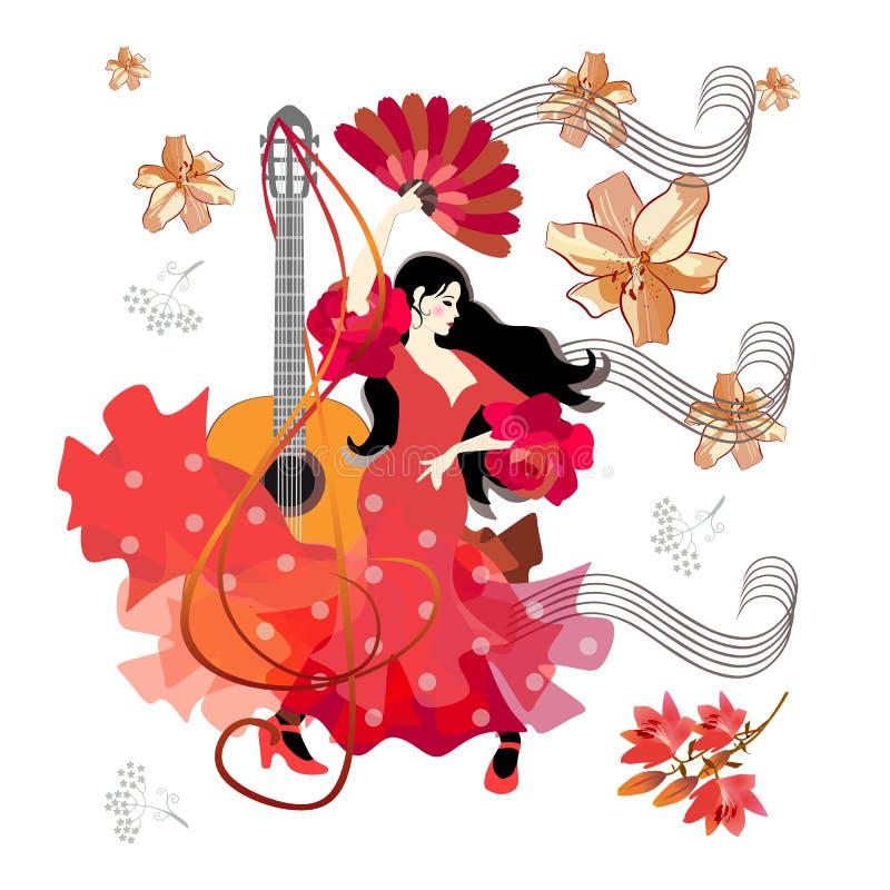 Guitarra ac?stica, clave de sol, partitura, muchacha espa?ola hermosa, vestida en vestido rojo tradicional y con la fan en su man stock de ilustración