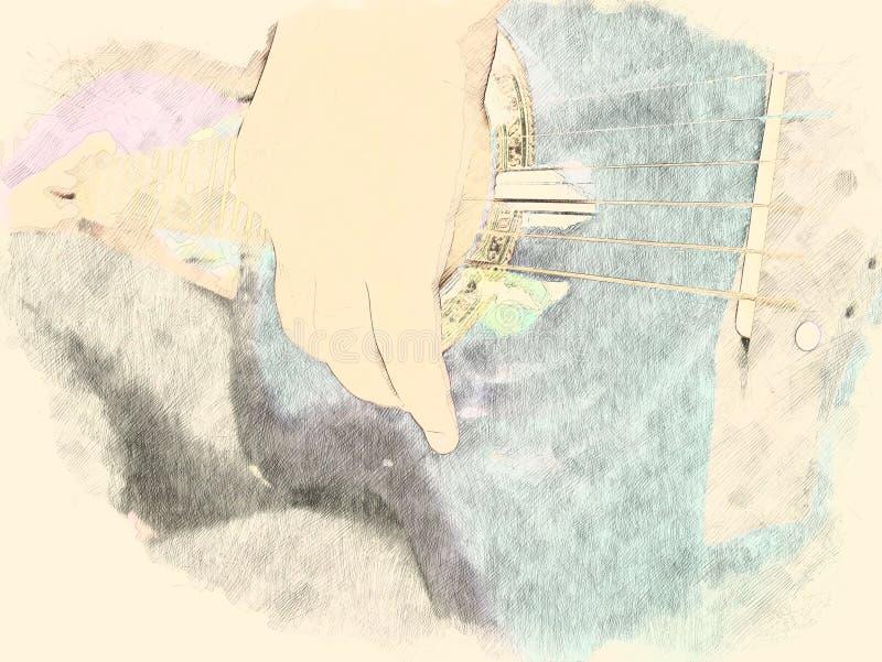 Guitarra acústica colorida do sumário no fim do primeiro plano acima no fundo de pintura da aquarela ilustração royalty free