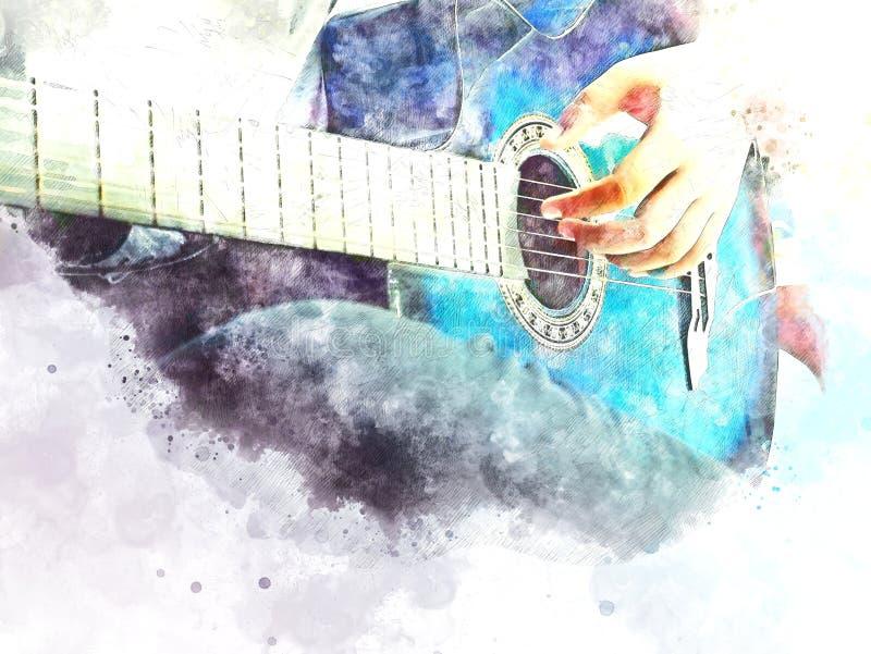 Guitarra acústica colorida do sumário no fim do primeiro plano acima no fundo de pintura da aquarela ilustração do vetor