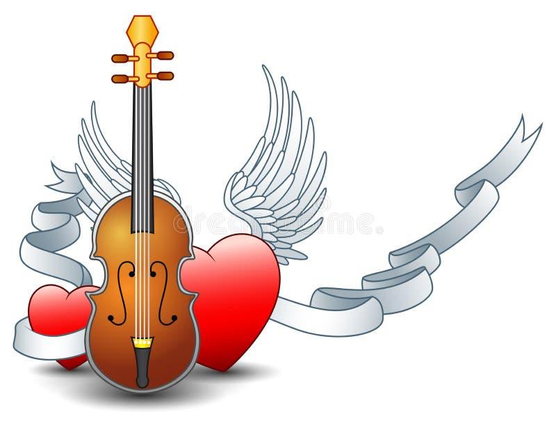 Guitarra acústica com a fita voada do coração e da prata ilustração do vetor