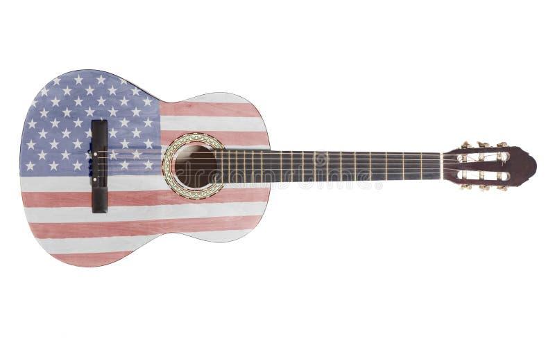 Guitarra acústica con la bandera de los E.E.U.U. fotografía de archivo libre de regalías
