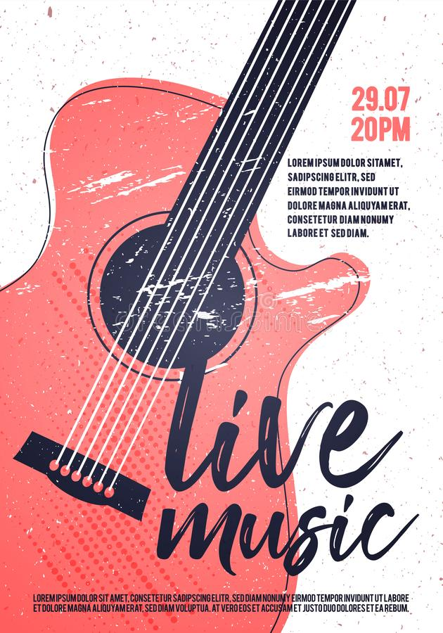 Guitarra acústica de Live Music Poster Template With de la roca del indie del vector Diseño punky del estallido del festival stock de ilustración