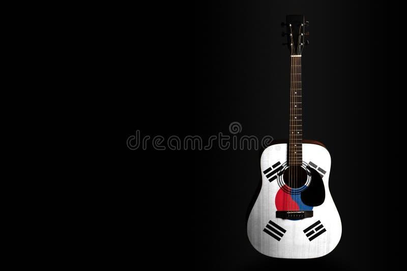 Guitarra acústica del concierto con una Corea del Sur exhausta de la bandera, en un fondo oscuro, como símbolo de la creatividad  foto de archivo