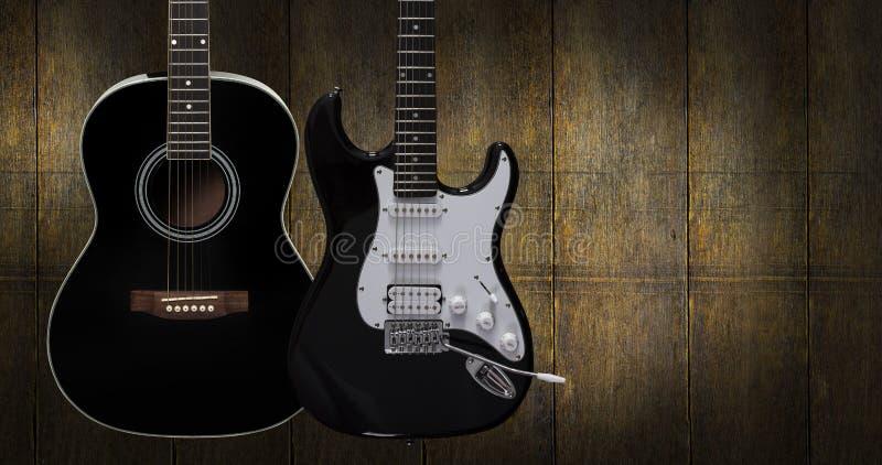 Guitarra acústica e elétrica fotografia de stock