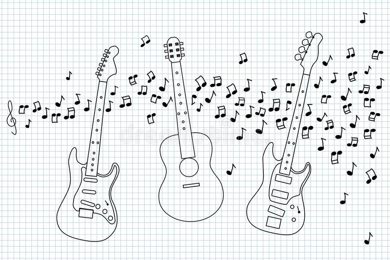 Guitarra acústica, eléctrica y baja libre illustration