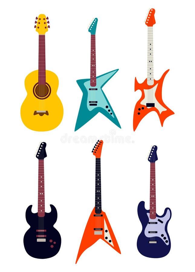 Guitarra acústica, guitarra elétrica ilustração royalty free