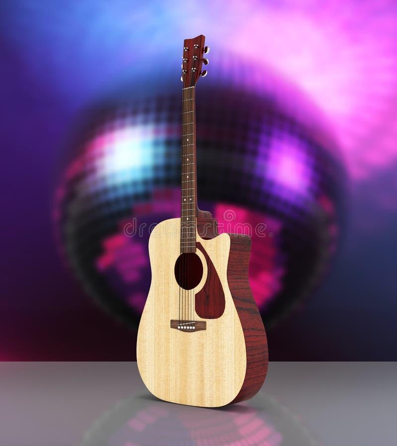 Guitarra acústica en el fondo 3d de la bola de discoteca stock de ilustración