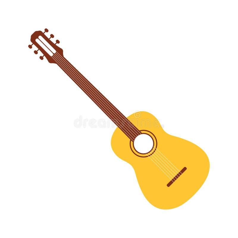 Guitarra acústica en estilo de la historieta Icono simple de la guitarra para la decoración tradicional del carnaval y del festiv stock de ilustración