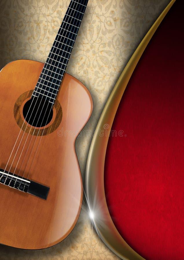 Guitarra acústica en fondo floral stock de ilustración