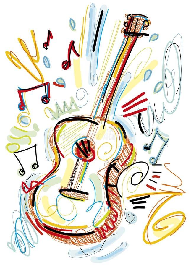Guitarra acústica incompleta en el fondo blanco stock de ilustración