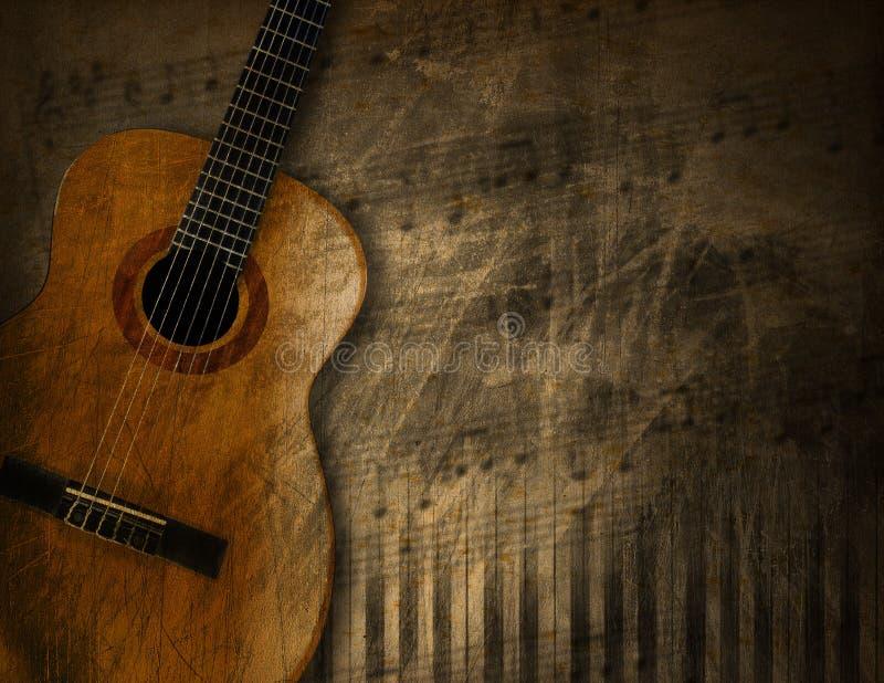 Guitarra acústica no fundo do Grunge ilustração stock