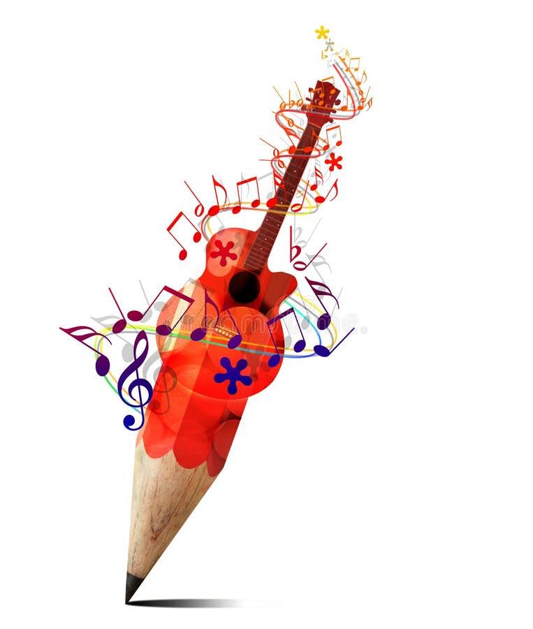Guitarra acústica roja y música del lápiz creativo. stock de ilustración