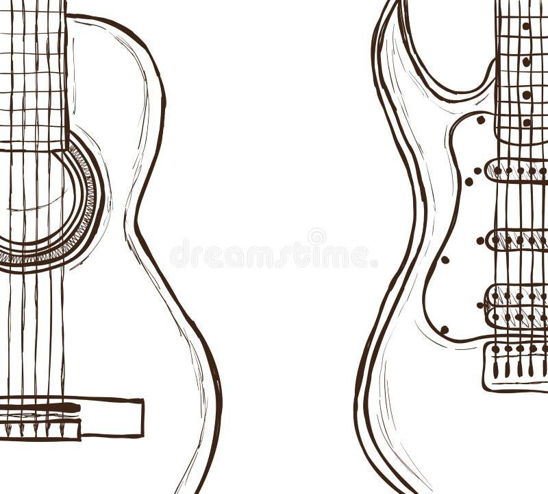 Guitarra Acústica Y Eléctrica Ilustración del Vector - Ilustración ...