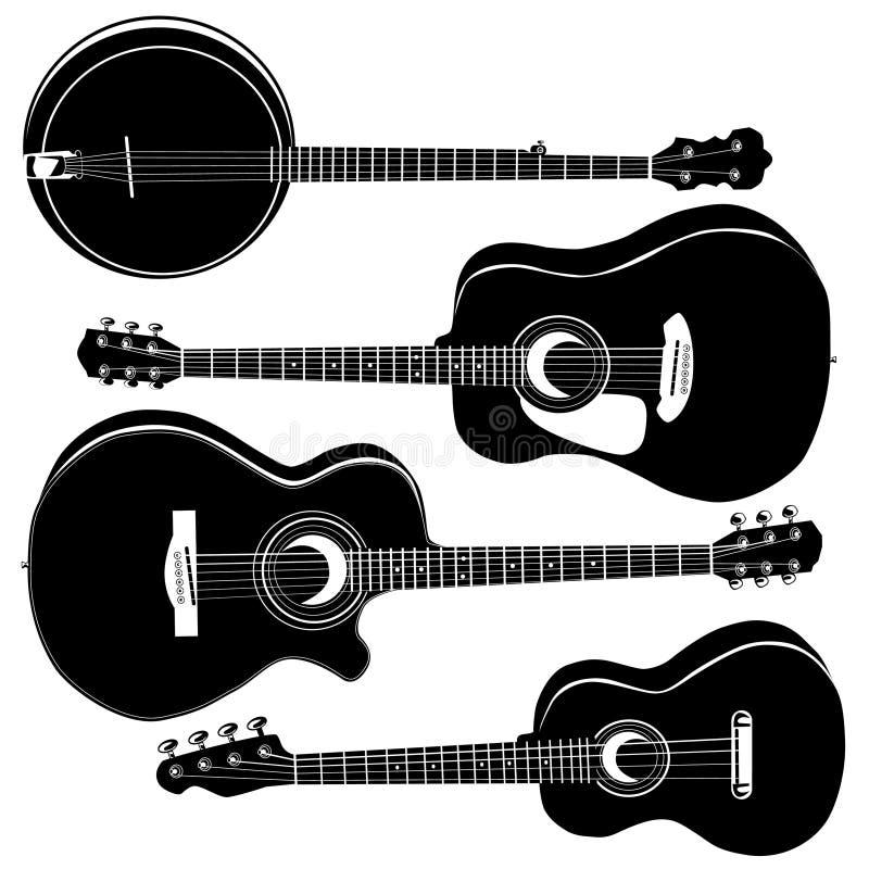 Guitarra acústicas e banjo ilustração do vetor