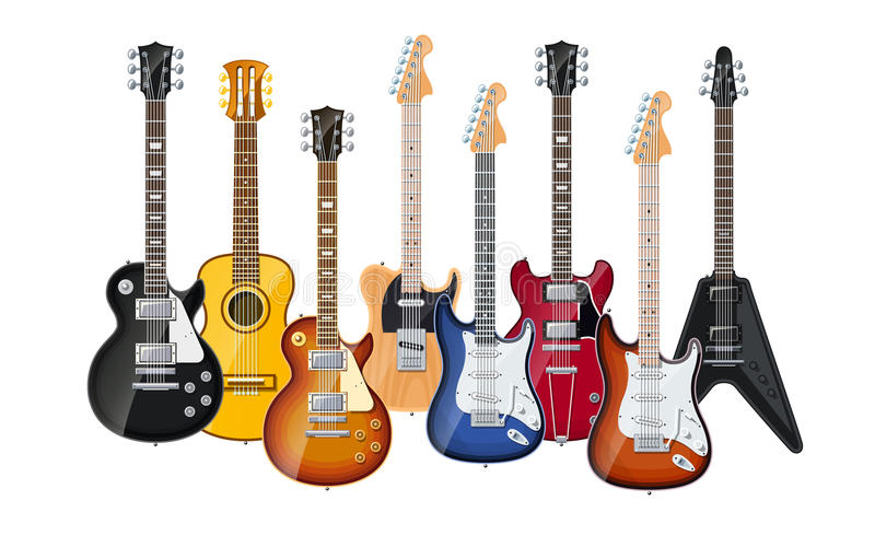 Guitarra acústicas e elétricas ilustração stock