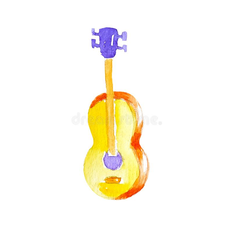 Guitarra amarela de madeira clássica acústica da aquarela isolada no fundo branco fotografia de stock royalty free