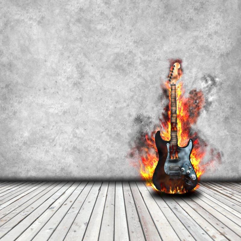 Guitarra ardente ilustração royalty free