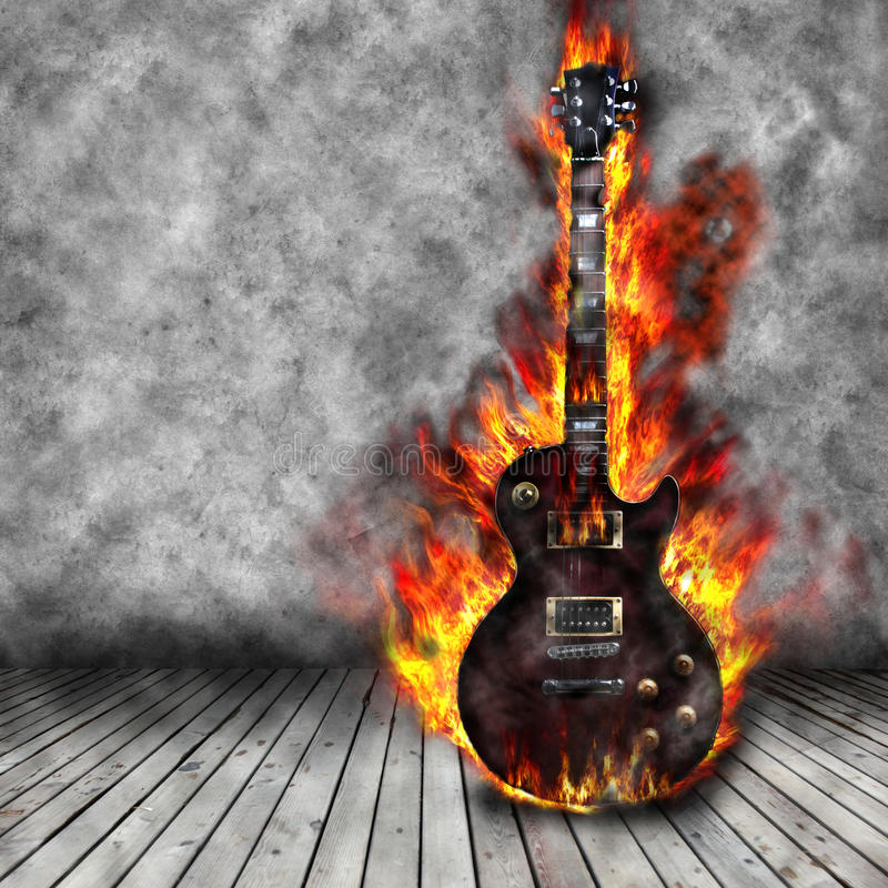A guitarra ardente ilustração royalty free