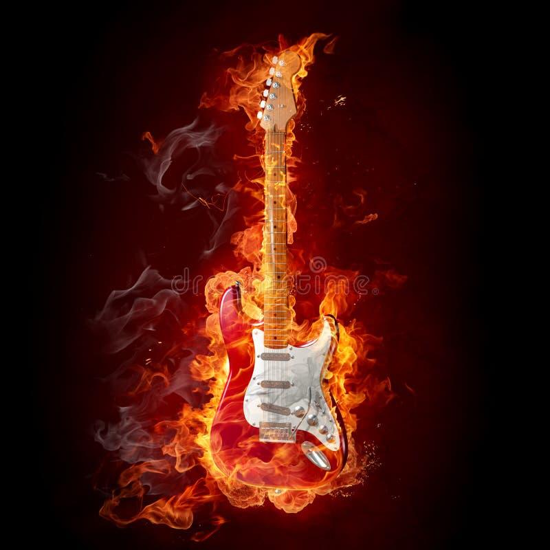 Guitarra ardente ilustração stock