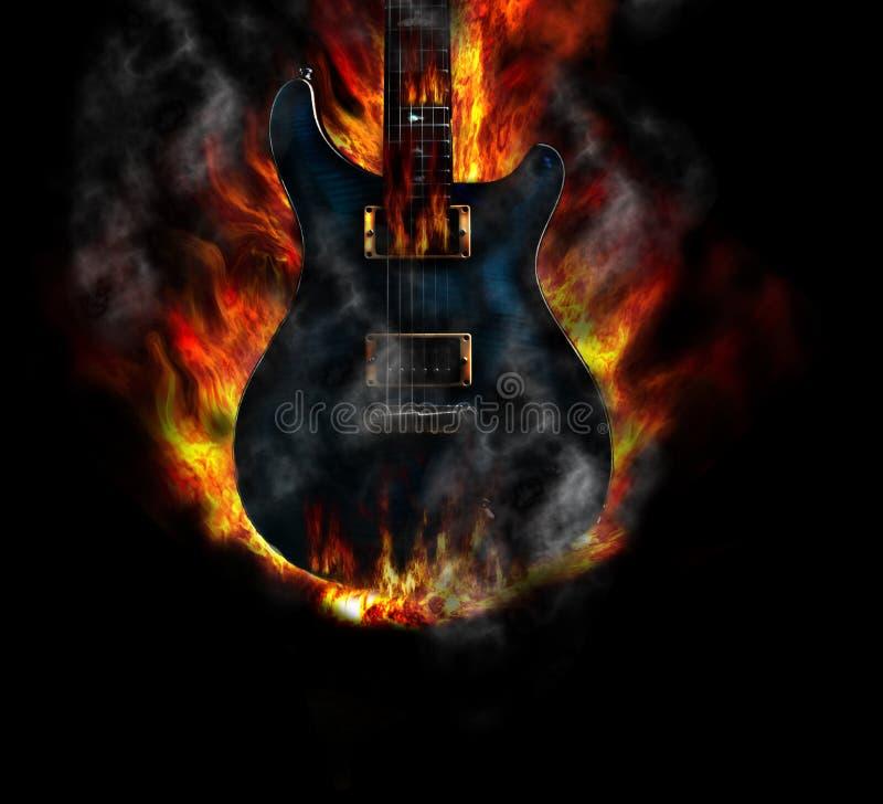 Guitarra ardente azul ilustração royalty free
