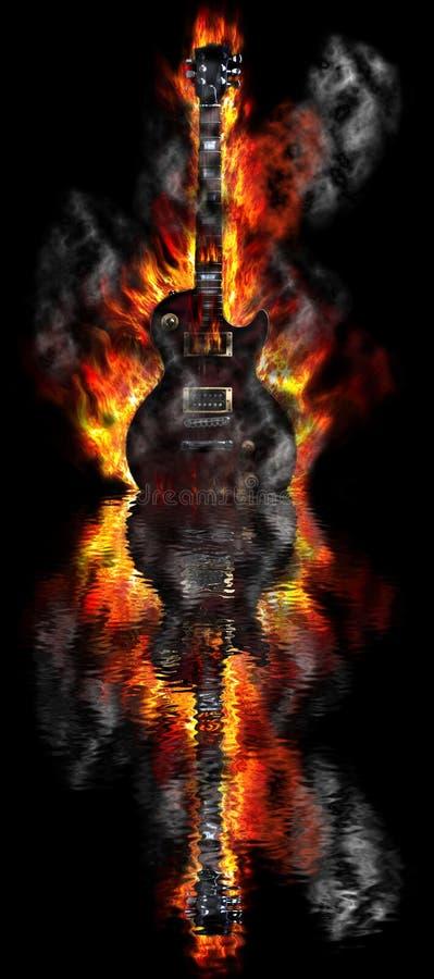 Guitarra ardente na água ilustração do vetor
