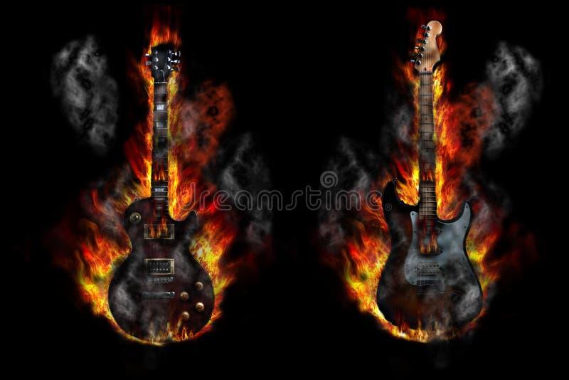 Guitarra ardentes ilustração do vetor