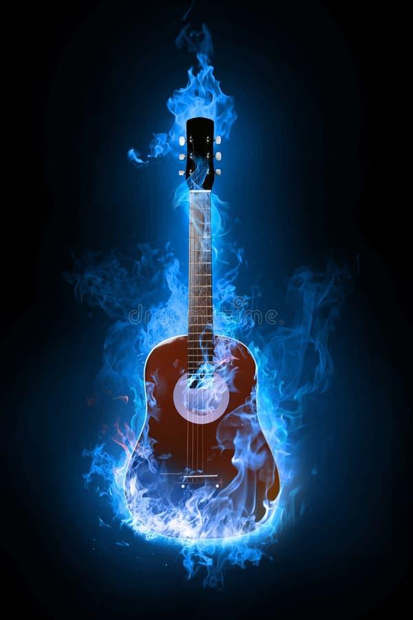 Guitarra azul ilustração do vetor