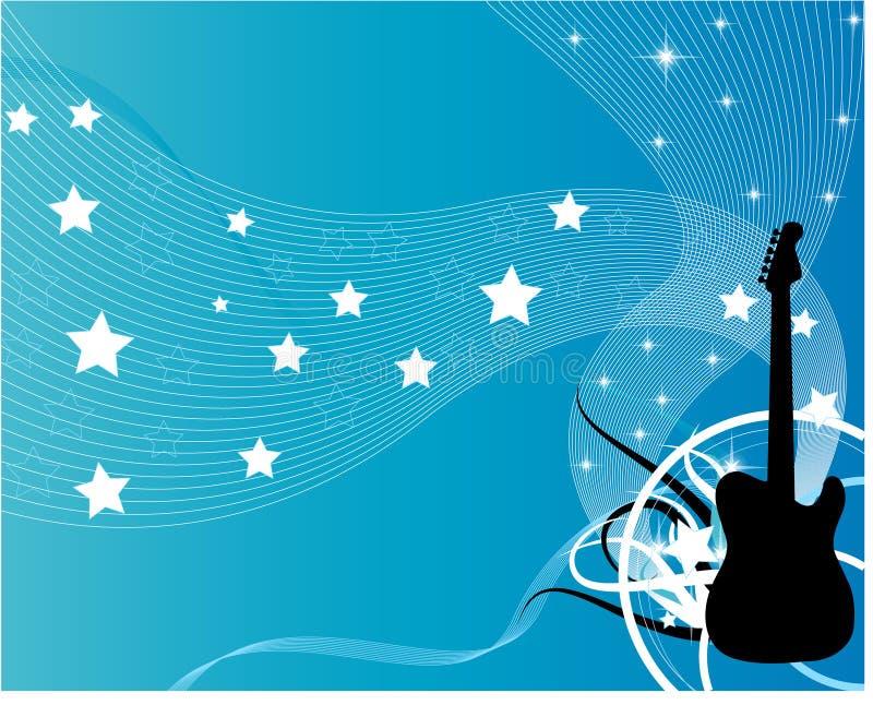 Guitarra azul do vetor ilustração stock