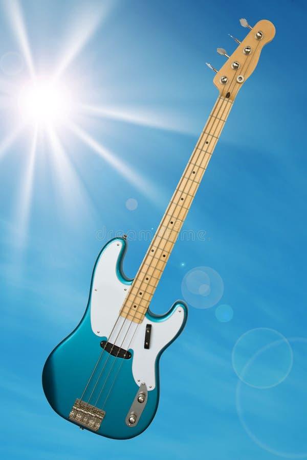 Guitarra baixa azul fotos de stock royalty free