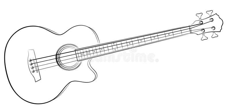 Guitarra-baixo do esboço ilustração do vetor
