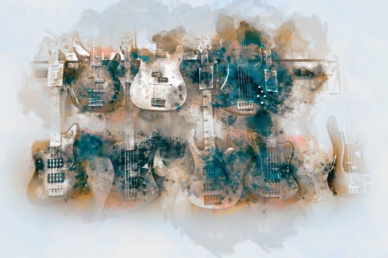 Guitarra baja ilustración del vector