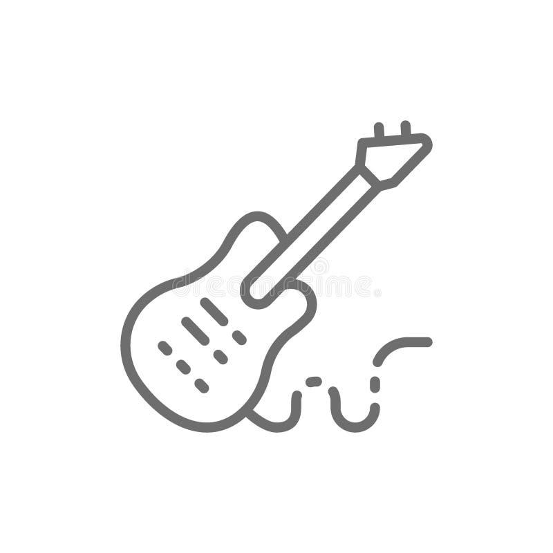 Guitarra baja electrónica, línea icono del instrumento de música libre illustration