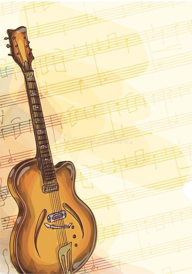 Guitarra baja en fondo con las notas hechas a mano. ilustración del vector