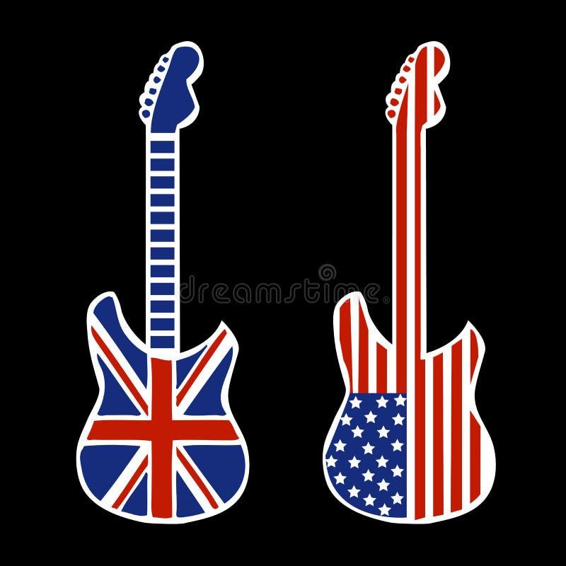 Guitarra britânicas e americanas do rock and roll ilustração stock