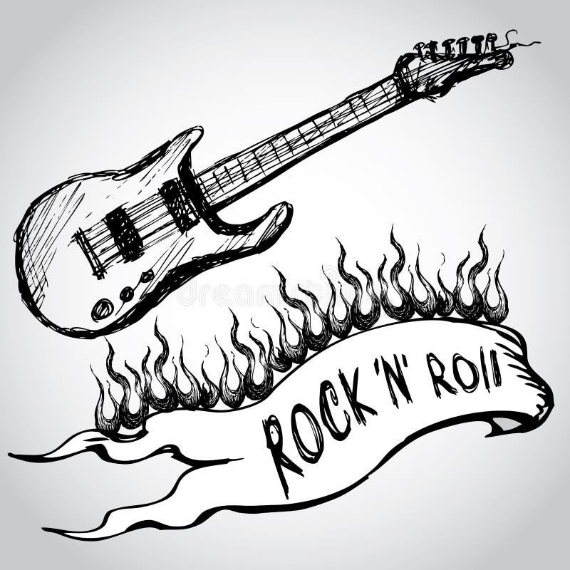 Guitarra, chamas, rock and roll ilustração do vetor