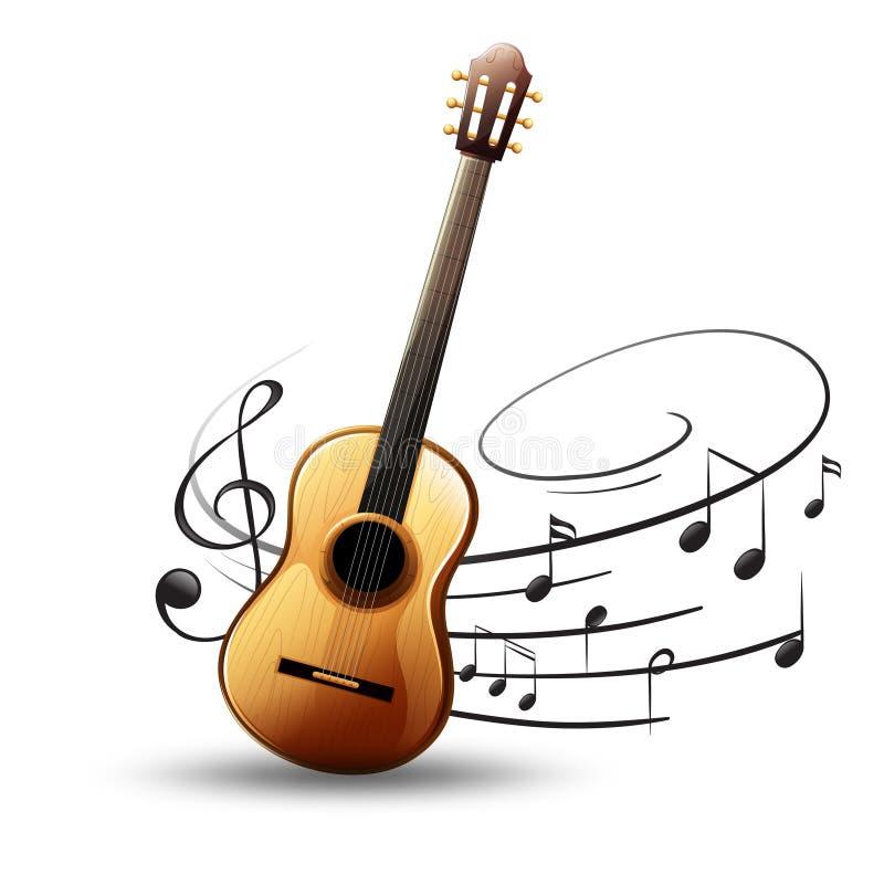 Guitarra clásica con las notas de la música en fondo stock de ilustración